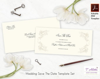 Printable Save The Date Set, Elegant Save The Date, Wedding Save The Date Template Set, Classic Save The Date, TEAGS10-T