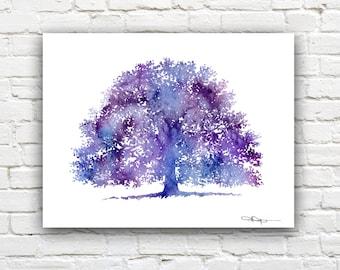 Purple Oak Tree Art Print - Abstract Watercolor Painting - Wall Decor
