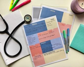 Note-taking Study guide Template Printable for Nursing School Student Medsurg Pathophysiology