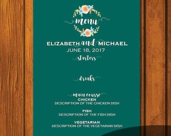 Turquoise Fall Watercolor Wedding Menu / Wedding Menu / Digital File / Print At Home / 5x7