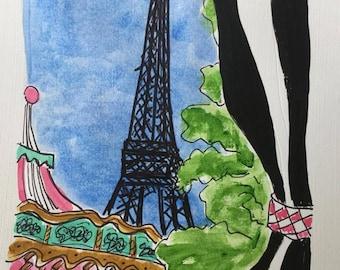 Striped Drapery Eiffel Carousel