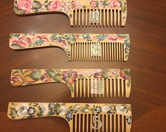 Hand painted wooden comb  .