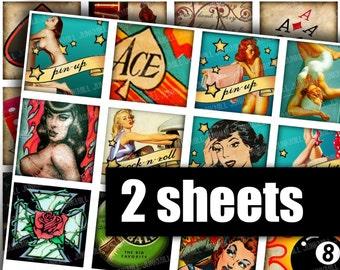 ROCKABILLY - Digital Printable Collage Sheet - 2X2 Inch Squares - Retro Rock-and-Roll Pin Ups, Pin-Up Girls, Varga Girls, Digital Download