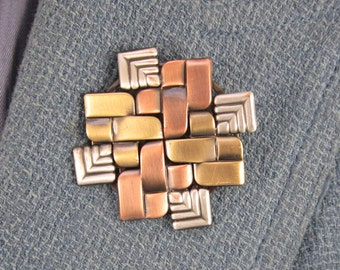 Quilted Metal Brooch- Gifts for Quilters- Modern Quilter- Quilt Jewelry- mixed metal jewelry