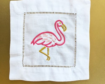 Flamingo Embroidered Linen Cocktail Napkins-4 pack/ 6 pack- Hostess Gift- Housewarming Gift - Shower Gift- Gifts for Her