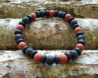Mens bracelet, Tribal Bracelet, Lava rock, Wood bracelet, Mens Bracelet, Beach bracelet, Gift for him, Red Jasper bracelet, Beach jewelry