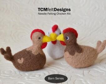 Needle Felting Kit, Chickens, Barn Series, Beginner/Intermediate Level Fiber Art Kit