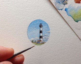FRAMED Miniature Painting of Nags Head Lighthouse by Brooke Rothshank