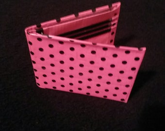 Pink and Black Polka Dot Duct Tape Bifold Wallet