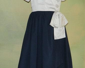S 80s Adele Simpson Dress A Symetrical Hemline Sax Fifth Ave Avant Garde Hi Low Dress Silk