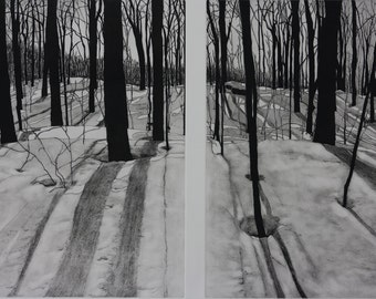 Winter Diptych I & II  Solar plate etching
