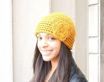 Crochet Hat, Crochet Beanie, Crochet Flower Hat, Color is Gold,