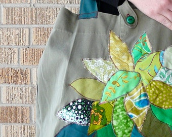 Upcycled Tote or Market Bag Green Tree Recycled Fabric Scraps