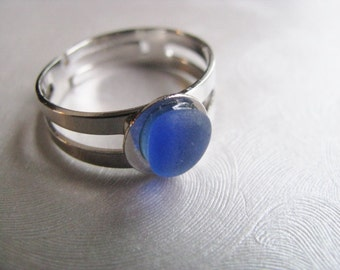 Beach Glass Jewelry - Sea Glass Ring - Cornflower Blue Ring - Beach Glass Ring