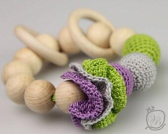 Crochet beads Teething rattle Amigurumi Baby teething toy Crochet baby rattle Eco friendly Rattle Baby Shower Gift  Crochet beads rattle