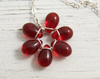 Necklace with a Red Glass Teardrop Flower Pendant  FP-95