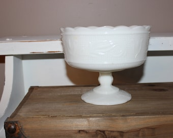 Vintage 1960's Brody Co Milk Glass Pedestal