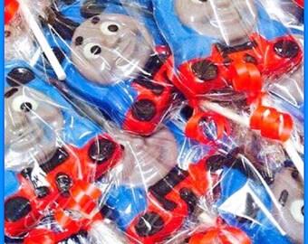 12 Train Tank Engine Chocolate Candy Lollipops  (Birthday party favors, train party favors, train candy table, happy train, choo choo train)