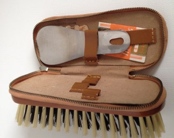 Leather Grooming Brush Shoe Buffer Sewing Kit Made in Germany Shoehorn Inside Zip Compartment