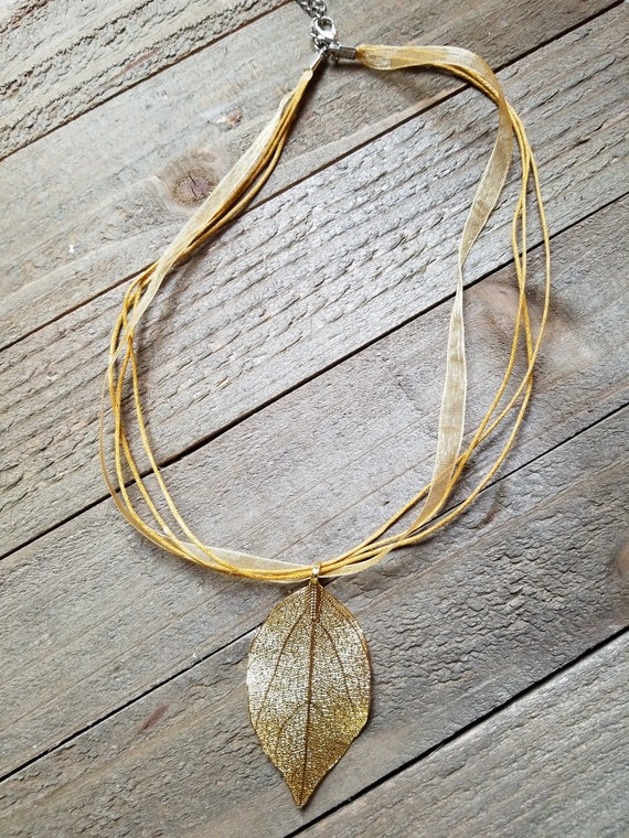 24k Gold Dipped Real Walnut Leaf Pendant Gold Ribbon Necklace Outdoor Rustic Earth Nature Collection