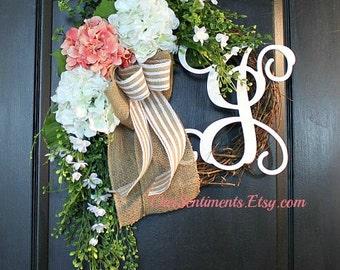 Summer Door wreaths Hydrangea Summer wreath for Summer wreaths for door - Wreaths Grapevine wreath