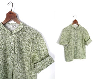 Vintage 1950s Blouse / 50s Blouse / Fruits and Flowers / Ditsy Print / Medium M