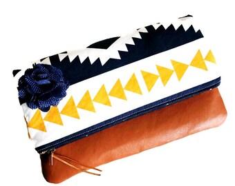 Horizon Brown Leather Clutch, Fold-over Clutch, Blue Clutch Bag, Evening Clutch, Women's Clutch Purse