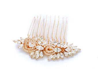 Gold wedding hair comb, wedding hair accessories, crystal hair comb, bridal hair comb, rhinestone hair comb, bridal hair piece, wedding comb