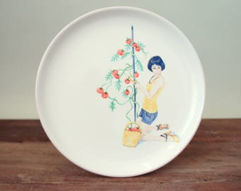 "Plate ""Girl with tomato"", hand painted, ceramics, art, food, cake plate, dessert, serving plate, inauguration gift, party,"