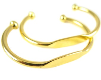 Gold Plated Engraving Cuff Bracelet - Small Wrist / child size (J617-C)
