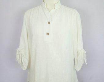 Vintage 1970's Cream Mandarin Collar Gathered Sleeve Blouse M