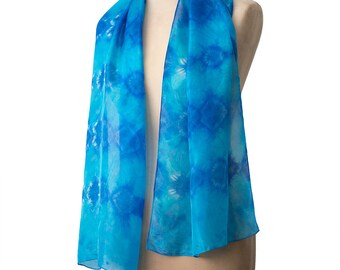 Blue scarf, boho scarf, gift for her, hand dyed silk, silk shibori scarf, tie dye scarf, womens accessories, summer scarf, work style scarf