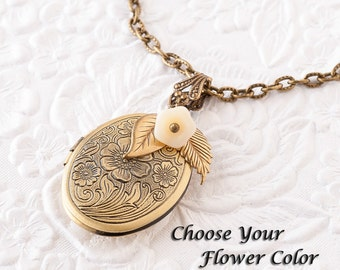 Flower Locket Embossed Locket Embossed Floral Pendant Photo Locket Bronze Locket Necklace Keepsake Jewelry Mothers Day Gift Sister Gift