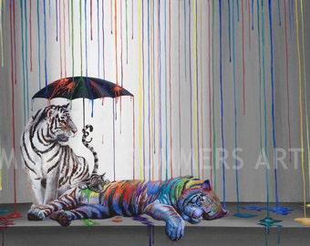 Catnap - tiger illustration - pop art print - surrealism print - fine art print - decor - modern wall art -  painting by Michael Summers