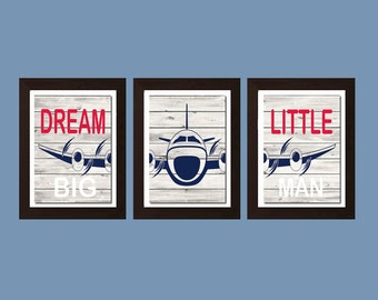 Dream Big Little Man, Airplane Decor, Aviation Decor, Airplane Nursery Art,  Nursery Decor, Boys Bedroom Decor, Boys Bedroom Wall Art
