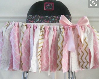 Fabric tutu-highchair tutu-birthday-rag garland