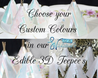 Edible Teepees 3D x 5 Custom Colour Boho Rustic Wafer Paper Tipi Bespoke Wedding Cake Decorations Customised Birthday Cupcake Toppers Decor
