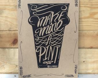 Make Mine a Pint A4 Craft Beer Print