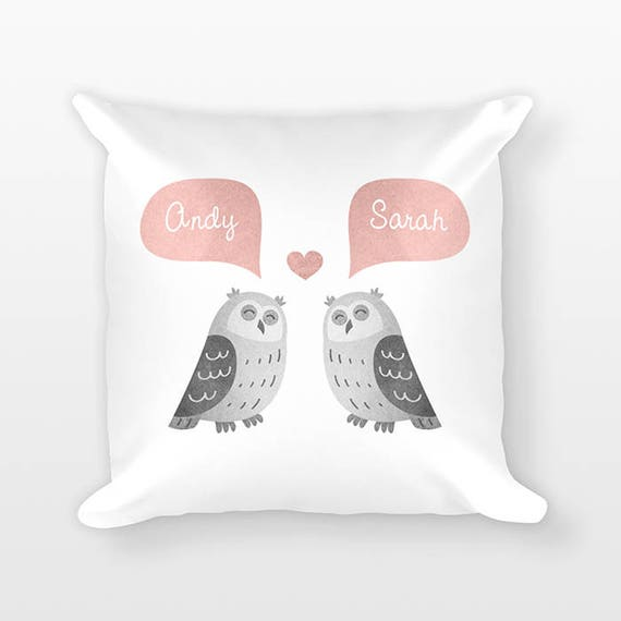 OWL Pillow, Animal Couple Pillow, Personalized Pillow, Unique Wedding Gift for Couple, Custom Throw Pillow, Decorative Pillow for Couch