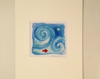 Little Red Fish Matted Print