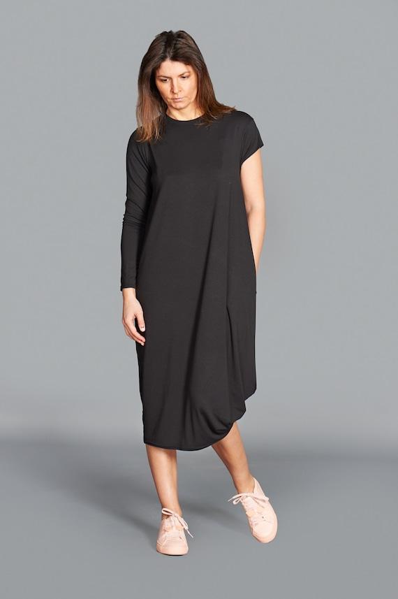 Black Midi Dress Minimalist Dress Plus Size Dress