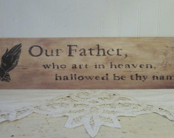 OUR FATHER The Lord's Prayer, Silhouette, Praying Hands religious distressed primitive folk art print.
