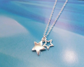 Sterling Silver Shooting Stars Necklace | Silver Star Jewellery | Lucky Stars | Star Charms | Minimalist Style | Gift for Her | Star Jewelry