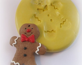 Gingerbread Man Mold Kawaii Mold Mould Resin Clay Fondant  Flexible Molds
