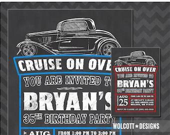 Hot Rod Birthday Invitation, Vintage Car, Hot Rod Invitations, Chalkboard Style, Hot Rod Party, 32 Hot Rod