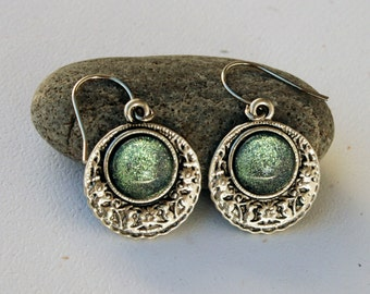 Serenity - Blue, Green and Silver - Color Shifting - Floral Medallion Earrings - Stainless Steel Hooks