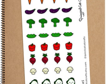 Kawaii Veg Stickers // Cute vegetable planner stickers // healthy & diet food