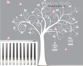 Wall Decal Tree with Birdcages, Birds-Baby Wall Decal-Nursery Wall Decal-e09
