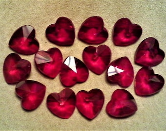Faceted red crystal heart; top drilled, faceted red crystal heart drop/pendant, 14x14x5mm, 5pcs/2.80.