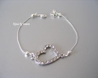 Jewelry wedding or evening fancy bracelet rhinestone bridal heart love